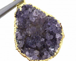 16.60 CTS AMETHYST CRYSTAL GOLD PLATED PENDANT SG-3119