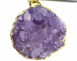 18.60 CTS AMETHYST CRYSTAL GOLD PLATED PENDANT SG-3128