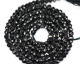 20.55 Cts Natural Sparkling Black Spinel Beads Tanzania - 34 cm and 2.6x2.4