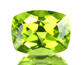 1.32 Cts Natural Parrot Green Peridot Cushion Cut Pakistan
