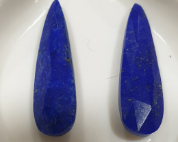 1 Pair Lapis Lazuli  Faceted Drop 21x6mm 6.72ct(SKU171)