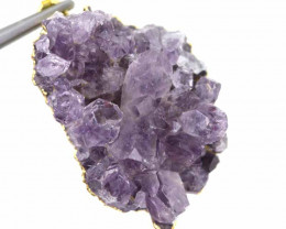 47CTS AMETHYST CRYSTAL GOLD PLATED PENDANT SG-3130
