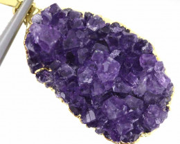 32CTS AMETHYST CRYSTAL GOLD PLATED PENDANT SG-3148