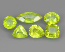 3.05 CTS NATURAL GREENISH-YELLOW SPHENE PARCEL 6 PCS