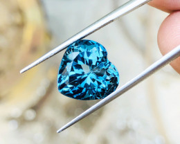 9.45 Ct Natural London Blue Topaz Heart Shape Flawless  Gemstone
