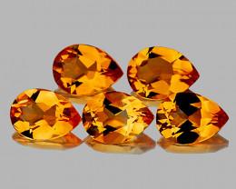 9x6 mm Pear 5 pcs 5.97cts Golden Orange Citrine [VVS]