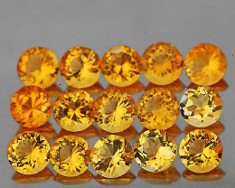 1.50 mm Round 70 pcs 1.00cts Golden Yellow Citrine [VVS]