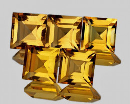5.00 mm Square 5 pcs 3.44cts Golden Yellow Citrine [VVS]