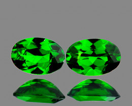 6x4 mm Oval 2 pcs 1.05cts Chrome Green Diopside [VVS}