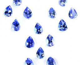2.62 Cts Natural Purple Blue Tanzanite 4x3mm Pear Cut 14Pcs Tanzania