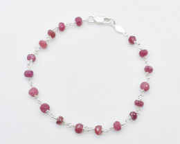 RUBY  BRACELET NATURAL GEM 925 STERLING SILVER JB31