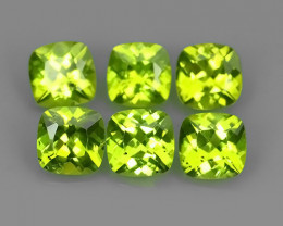 5.10 Cts.Magnificient Top Sparkling Intense Green-Peridot~Cushion 6.0 MM~ N