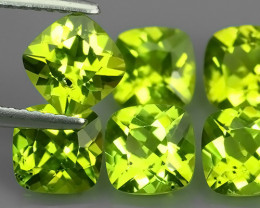 5.40 Cts.Magnificient Top Sparkling Intense Green-Peridot~Cushion 6.0 MM~ N