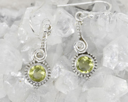 PERIDOT EARRINGS 925 STERLING SILVER NATURAL GEMSTONE JE380