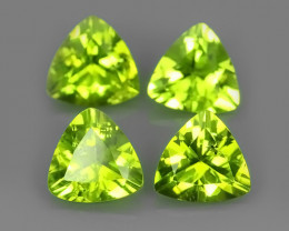 4.65 CTS EXCELLENT TRILLION CUT NATURAL PERIDOT PARCEL 4 PCS~