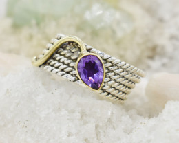 AMETHYST RING 925 STERLING SILVER NATURAL GEMSTONE JR299