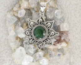 EMERALD PENDANT 925 STERLING SILVER NATURAL GEMSTONE JP278