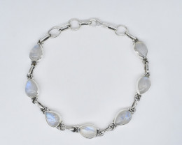 RAINBOW MOONSTONE BRACELET NATURAL GEM 925 STERLING SILVER JB274