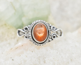 SUNSTONE RING 925 STERLING SILVER NATURAL GEMSTONE JR398