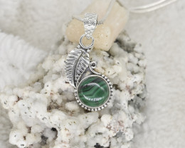 MALACHITE PENDANT 925 STERLING SILVER NATURAL GEMSTONE JP281