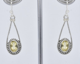 CITRINE  EARRINGS 925 STERLING SILVER NATURAL GEMSTONE JE371