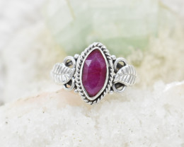 RUBY RING 925 STERLING SILVER NATURAL GEMSTONE JR405