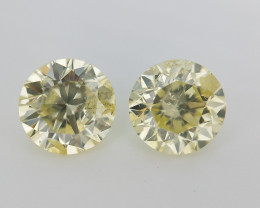 RARE Fancy Round Diamond Pair , Light Yellow Diamond , 1 carat Diamond , 1.