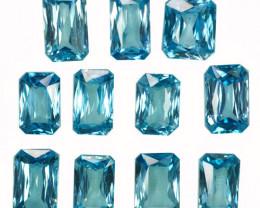 33.76Ct Natural  Lustrous  Blue Zircon  9.50 X 6.50mm Octagon Parcel