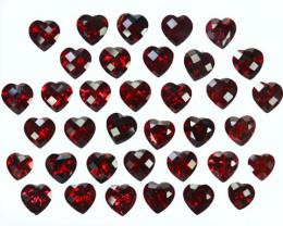 56.24Ct Natural Red Garnet Heart checker board 7mm Parcel