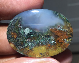 41.65 CT THE BEST MOUNTAIN CLIFF PICTURE MOSS AGATE FROM INDONESIA