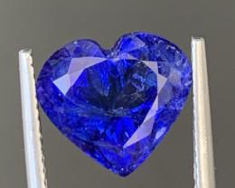 AAA Color 4.90 Carats Heart Shape Tanzanite Gemstone