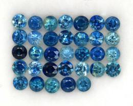 4.04 ct. 2.9 MM. DIAMOND CUT BLUE SAPPHIRE NATURAL GEMSTONE 33PCS.
