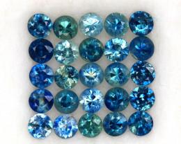 4.01ct.3.2MM.DIAMOND CUT MULTI COLOR SAPPHIRE NATURAL GEMSTONE 25PCS.