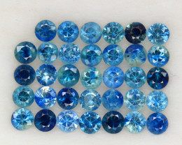 4.07 ct. 2.9 MM. DIAMOND CUT BLUE SAPPHIRE NATURAL GEMSTONE 34PCS.