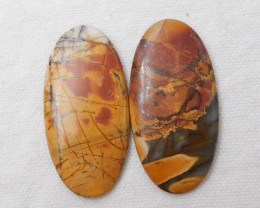98cts Wholesale Multi Color Jasper Gemstone Cabochons Jasper Cabochon Pair,