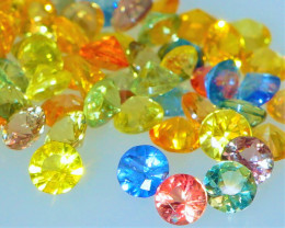 VVS! Rainbow Sapphire 5.18 CT Round Cut Lot | Yellow, Orange, Green, Blue