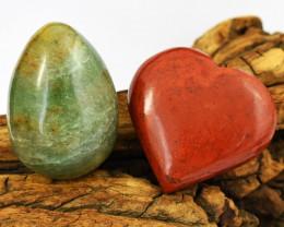 Genuine 776.00 Cts Aventurine Healing Egg & Red Jasper Heart Gem Set