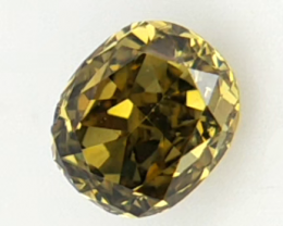0.13 CT , Yellow Natural Diamond , Oval Brilliant Cut