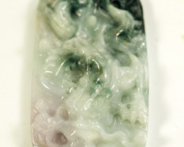 Natural Grade A Dragon Carving Jadeite Jade Pendant