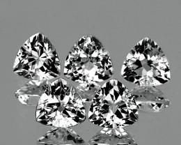 7.00 mm Trillion 5 pcs 7.22cts White Topaz [VVS]