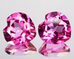 ~LOVELY~ 6.50 Cts Candy Pink Natural Topaz 9mm Heart Cut 2Pcs Brazil