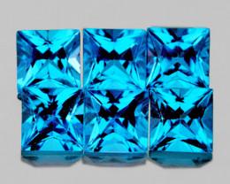 3.80 mm Square Princess Cut 6 pcs 2.13cts Swiss Blue Topaz [VVS]