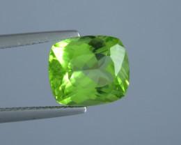 4.33 carat  Natural Beautiful Cushion Cut Apple Green Colour Peridot From P