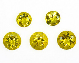 ~RICH COLOR~ 2.30 Cts Natural Scapolite Beautiful Yellow 5.5-4.5mm Round 5P