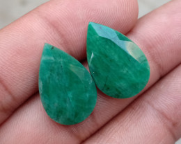 EMERALD PEAR CUT PAIR GENUINE NATURAL GEMSTONE VA1538