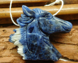 African sodalite horse head pendant (G1855)
