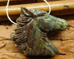 Natural dragon bloodstone carved horse pendant (G1856)