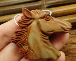 Succor jasper carved horse pendant (G1857)