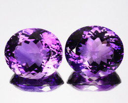 43.90 Cts Natural Purple Amethyst Oval PAIR Brazil Gem
