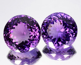 27.20 Cts Natural Purple Amethyst Round PAIR Brazil Gem